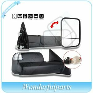 Power Heated Towing Pair Side View Mirrors For 2009 2012 Dodge Ram Truck Hood