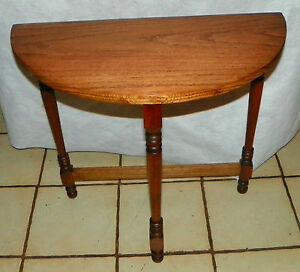 Solid Oak Walnut Demilune Entry Table Side Table T561