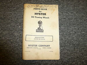 Hyster Kr Towing Winch For Cat D2 Tractor Parts Catalog Owner Operator Manual