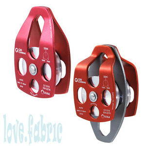 Set 32kn Large Aluminum Pulley For Rope 5 8 Tree Climbing Rescue Hauling Caving
