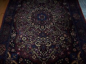 Vintage Wool Indo Isphahan Floor Rug Deep Burgundy Blue Green Gold Ivory 4 X 6