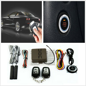 Car Suv Alarm System Keyless Entry Button Engine Start Push Starter remote Kits