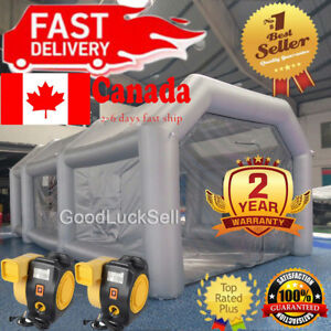 Inflatable Giant Grey Car Workstation Spray Air Paint Booth Tent 8 4 3m W 2 Fans