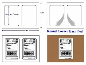 Round Corner 400 Self Adhesive 7 X 4 5 Shipping Labels 2 Per Sheet