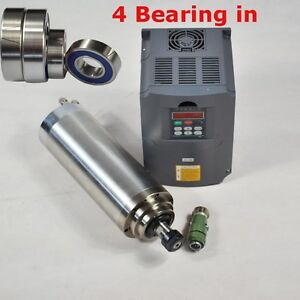 4kw Water cooled Spindle Motor With Four Bearings 4kw Drive Inverter Vfd