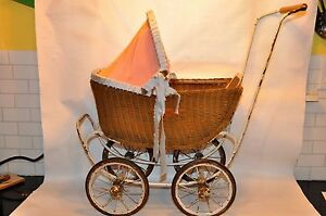 Vintage Genuine Lloyd Loom Baby Doll Buggy Carriage Pram Stroller Wicker