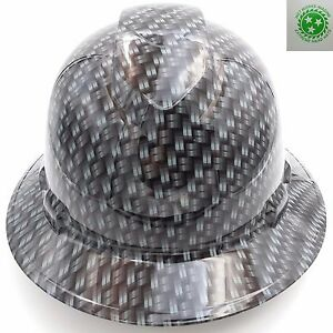 Custom Pyramex Full Brim Hard Hat W ratchet Suspension Metal Weave Carbon Fiber