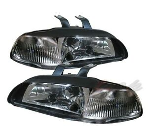 Fit 92 95 Honda Civic 2 3 Dr 1 Piece Headlight Black Clear Signal Reflector