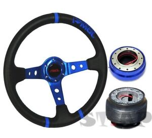 Mitsubishi Jdmsport Deep Dish 350mm Steering Wheel Blue hub quick Release Blue
