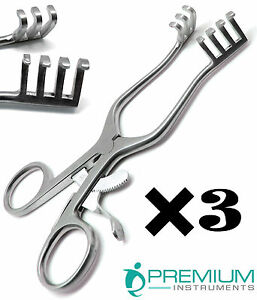 3 Pcs Surgical Weitlaner Retractors 6 5 Blunt 3x4 Prongs Veterinary Instruments