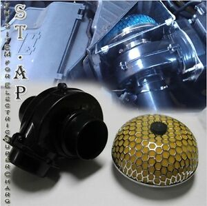 Air Intake 75mm Electric Supercharger Fuel Gas Saver Hp 3 Inch Filter Yellow
