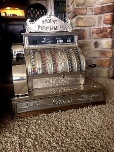 Restored Late 1800 S Model 92 Antique Nickel Plate Brass National Cash Register