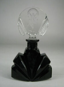 Perfume Bottle Art Deco Czechoslovakia Glass Signed Black Dauber Carved Figure