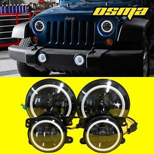 07 18 Jeep Wrangler Jk Cree Led Halo Headlights 4 Led Fog Lights Lamps Combo