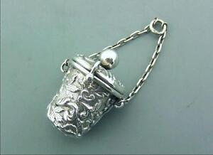 Antique Victorian Silver Thimble Holder Case For Chatelaine Birmingham 1895