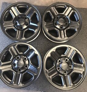 Set Of 4 Jeep Wheels 16x7 5 Lug Black Painted