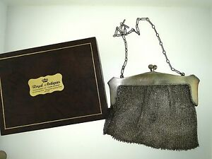 Antique Sterling Silver Ornate Mesh 5 1 4 Inch Purse