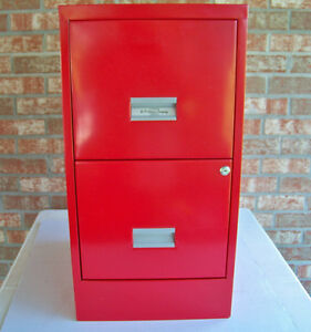 W p Johnson Two Drawer Locking File Cabinet Vintage Red Metal