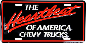 Heartbeat Of America Chevy Trucks Embossed Metal Novelty License Plate Tag
