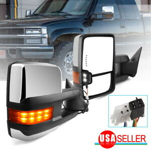 Fit For 88 98 Chevy Gmc Obs C k Tow Mirrors Power Led Signal Spot Light Chrome