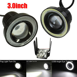 3 0inch Car Fog Light Cob Led Projector White Halo Ring Drl Driving Bulbs