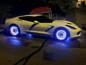 Set Of Led Wheel Ring Lights Car Truck Led Mixed Color Chaser Flowing Blue Tooth