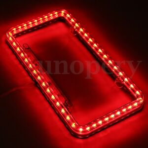 Universal 54 Red Led Lighting Acrylic Plastic License Plate Cover Frame New