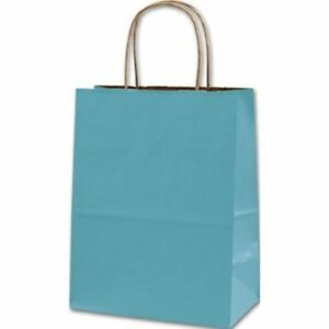 250 Robin s Egg Blue Color on kraft Paper Bags Shoppers 8 1 4 X 4 1 4 X 10 3 4