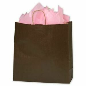 200 Chocolate Brown Color On Kraft Queen Shoppers Paper Bags Gift Merchandise 16