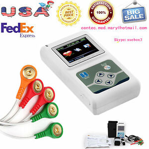 Usa Ecg ekg Holter System 3 Channel 24 Hours Recorder Monitor Us software sale