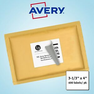 Avery Laser Mailing Labels 3 1 3 X 4 White 600ct
