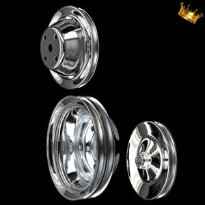 Chrome 3 Pulley Set Fits Small Block Chevy 327 350 383 400 W Long Water Pump