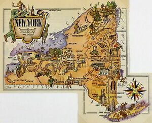 New York Antique Vintage Pictorial Map