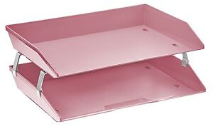 Acrimet Facility 2 Tiers Double Letter Tray Solid Pink Color