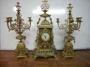 Antique French Large Gilt Bronze Garniture Set Clock Set 31 In H 78 Cm