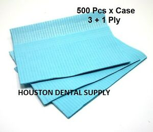 500 Disposable Dental Tattoo Bibs 3 1 Ply Tissue Towel 13 x18 Blue Color
