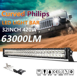 Curved 32inch Philips 6d 420w Led Light Bar Led Combo Driving Lamp 28 30 Gmc