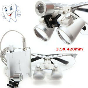 Dental Surgical Binocular Loupes Glasses Magnifying Zoom led Head Light Lamp A