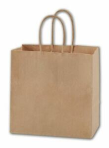 250 Recycled Kraft Paper Bags Merchandise Gift Shoppers Ruby 8 X 5 X 8