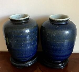 Lrg Antique Chinese Ming Dynasty Transitional Pair Of Blue White Porcelain Jar
