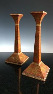 A Pair Of Chinese Gilt Painted Dragon And Bat Candlesticks