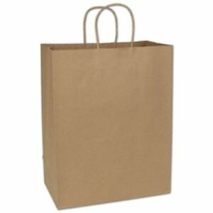 250 Kraft Gift Merchandise Paper Bags Shoppers Escort 13 X 7 X 17