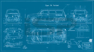 New Vw Type 3 Squareback Large Blueprint Poster 26x48 Inches