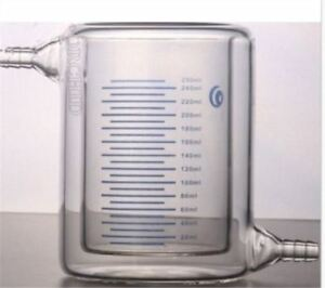 Jacketed Glass Beaker 500ml For Photocatalytic Experiment Lab New Ip