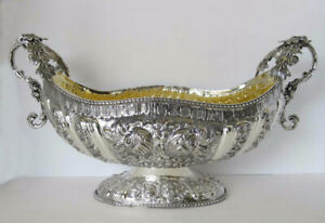 925 Sterling Silver Embossed Floral Beaded Fruit Bowl Centerpiece Sl 312 2265