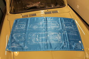 New Vw Type 3 Squareback Blueprint Banner 24x44 Inches