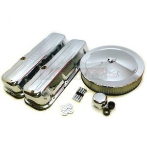 Bbc Chevy Chrome Steel 454 Stamped Logo Dressup Kit Tall Valve Cover Air Cleaner