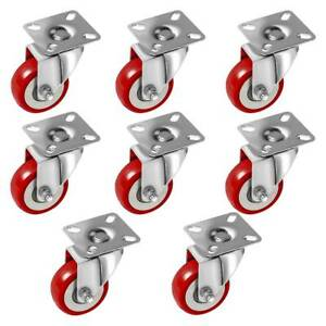8 Pack Caster Wheels Swivel Plate Casters On Red Polyurethane Wheels 2 Inch