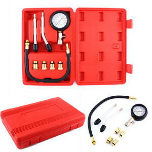 Petrol Engine Compression Tester Test Gauge Kit Car Motorcycle Garage Tools Case