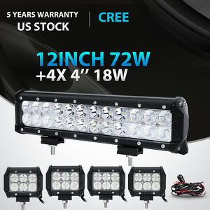 12inch 72w 4 18w Led Work Light Bar Spot Flood Offroad Driving Pickup Atv Suv